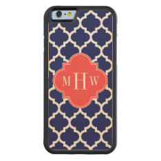 Navy Wht Moroccan #5 Coral Red 3 Initial Monogram Carved Maple Iphone 6 Bumper Case at Zazzle