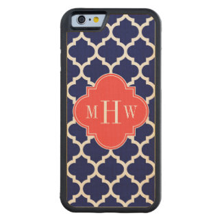 Navy Wht Moroccan #5 Coral Red 3 Initial Monogram Carved Maple iPhone 6 Bumper Case