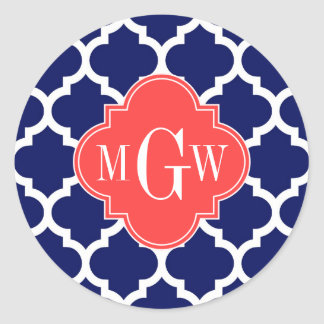 Navy Wht Moroccan #5 Coral Red 3 Initial Monogram Classic Round Sticker