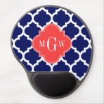 Navy Wht Moroccan #5 Coral Red 3 Initial Monogram Gel Mouse Pad