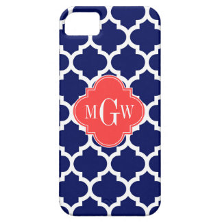 Navy Wht Moroccan #5 Coral Red 3 Initial Monogram iPhone SE/5/5s Case