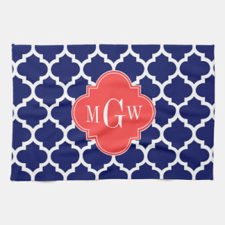 Navy Wht Moroccan #5 Coral Red 3 Initial Monogram Towel