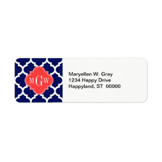 Navy Wht Moroccan #5 Coral Red 3 Initial Monogram Return Address Label