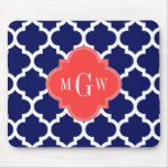 Navy Wht Moroccan #5 Coral Red 3 Initial Monogram Mouse Pad