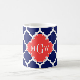 Navy Wht Moroccan #5 Coral Red 3 Initial Monogram Coffee Mugs
