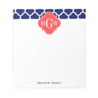 Navy Wht Moroccan #5 Coral Red 3 Initial Monogram Notepad