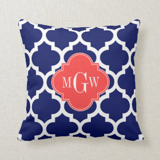 Navy Wht Moroccan 5 Coral Red 3 Initial Monogram Pillow