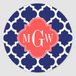 Navy Wht Moroccan #5 Coral Red 3 Initial Monogram Round Stickers