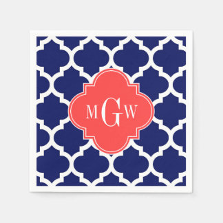 Navy Wht Moroccan #5 Coral Red 3 Initial Monogram Paper Napkin