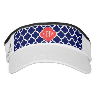 Navy Wht Moroccan #5 Coral Red 3 Initial Monogram Visor