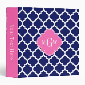 Navy Wht Moroccan #5 Hot Pink2 3 Initial Monogram 3 Ring Binder