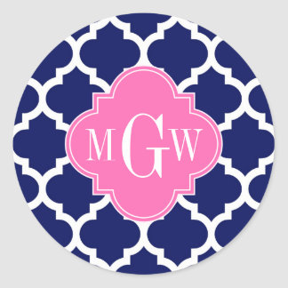 Navy Wht Moroccan #5 Hot Pink2 3 Initial Monogram Classic Round Sticker