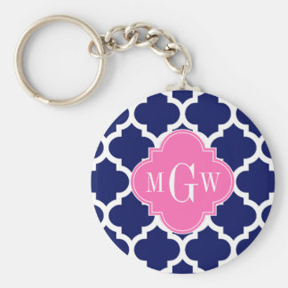Navy Wht Moroccan #5 Hot Pink2 3 Initial Monogram Basic Round Button Keychain