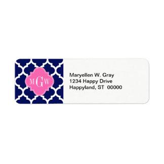 Navy Wht Moroccan #5 Hot Pink2 3 Initial Monogram Return Address Label