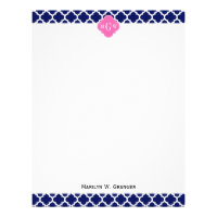 Navy Wht Moroccan #5 Hot Pink2 3 Initial Monogram Letterhead