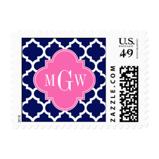 Navy Wht Moroccan #5 Hot Pink2 3 Initial Monogram Postage