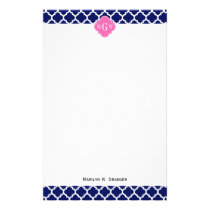 Navy Wht Moroccan #5 Hot Pink2 3 Initial Monogram Stationery
