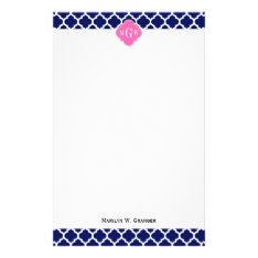 Navy Wht Moroccan #5 Hot Pink2 3 Initial Monogram Stationery at Zazzle