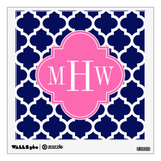Navy Wht Moroccan #5 Hot Pink2 3 Initial Monogram Wall Sticker