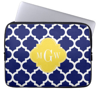 Navy Wht Moroccan #5 Pineapple 3 Initial Monogram Computer Sleeves