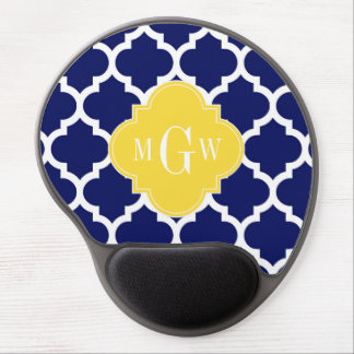 Navy Wht Moroccan #5 Pineapple 3 Initial Monogram Gel Mouse Pad