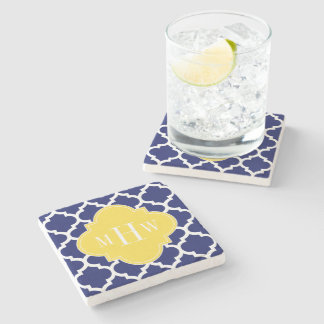 Navy Wht Moroccan #5 Pineapple 3 Initial Monogram Stone Coaster