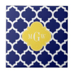 Navy Wht Moroccan #5 Pineapple 3 Initial Monogram Small Square Tile