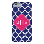 Navy Wht Moroccan #5 Raspberry 3 Initial Monogram Barely There iPhone 6 Case