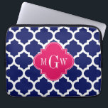 "Navy Wht Moroccan #5 Raspberry 3 Initial Monogram Computer Sleeve<br><div class=""desc"">Navy Blue and White Moroccan Quatrefoil Trellis Pattern #5, Raspberry Quatrefoil 3 Initial Monogram Label Customize this with your 3 initial monogram, name or other text. You can also change the font, adjust font sizs and font colos, move the text to adjust letter spacing, add text fields, etc. Please note...</div>"