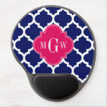 Navy Wht Moroccan #5 Raspberry 3 Initial Monogram Gel Mouse Pad
