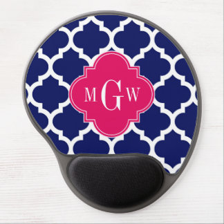 Navy Wht Moroccan #5 Raspberry 3 Initial Monogram Gel Mouse Pads