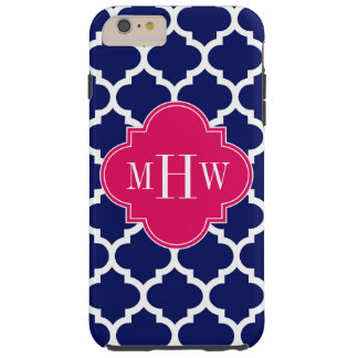 Navy Wht Moroccan #5 Raspberry 3 Initial Monogram Tough iPhone 6 Plus Case