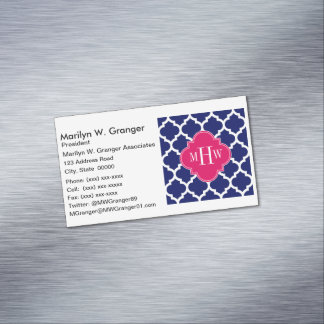 Navy Wht Moroccan #5 Raspberry 3 Initial Monogram Magnetic Business Cards (Pack Of 25)