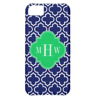 Navy Wht Moroccan #6 Emerald 3 Initial Monogram Cover For iPhone 5C