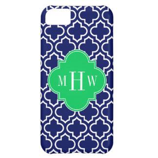 Navy Wht Moroccan #6 Emerald 3 Initial Monogram Case For iPhone 5C