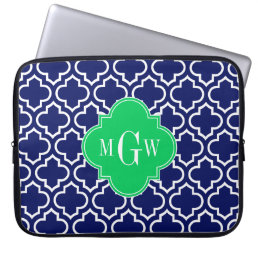 Navy Wht Moroccan #6 Emerald 3 Initial Monogram Laptop Sleeve