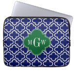 Navy Wht Moroccan #6 Forest Grn 3 Initial Monogram Laptop Computer Sleeves