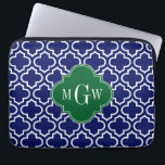 "Navy Wht Moroccan #6 Forest Grn 3 Initial Monogram Laptop Sleeve<br><div class=""desc"">Navy Blue #5c and White Moroccan Quatrefoil Trellis Pattern #6, Forest Green Ribbon 3 Initial Monogram Customize this with your 3 initial monogram, name or other text. You can also change the font, adjust the font size and font color, move the text to adjust the monogram letter spacing, etc. Please...</div>"