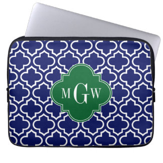 Navy Wht Moroccan #6 Forest Grn 3 Initial Monogram Laptop Sleeves