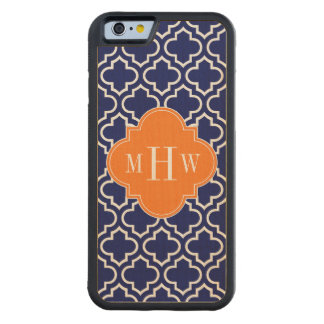 Navy Wht Moroccan #6 Pumpkin 3 Initial Monogram Carved Maple iPhone 6 Bumper Case