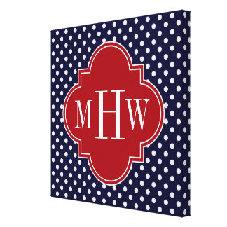 Navy Wht Polka Dot Cranberry Quatrefoil 3 Monogram Gallery Wrap Canvas