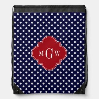 Navy Wht Polka Dot Cranberry Quatrefoil 3 Monogram Backpacks