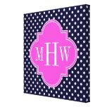 Navy Wht Polka Dot Hot Pink Quatrefoil 3 Monogram Gallery Wrapped Canvas
