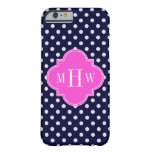 Navy Wht Polka Dot Hot Pink Quatrefoil 3 Monogram Barely There iPhone 6 Case