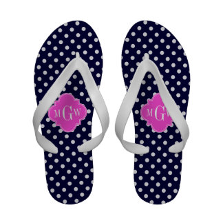 Navy Wht Polka Dot Hot Pink Quatrefoil 3 Monogram Flip-Flops