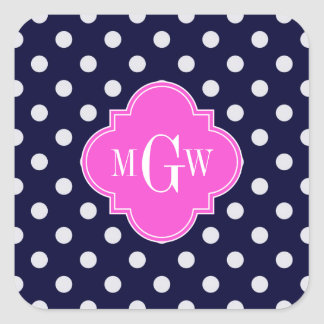 Navy Wht Polka Dot Hot Pink Quatrefoil 3 Monogram Stickers