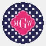 Navy Wht Polka Dot Raspberry Quatrefoil 3 Monogram Classic Round Sticker