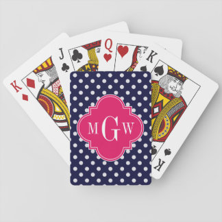 Navy Wht Polka Dot Raspberry Quatrefoil 3 Monogram Playing Cards