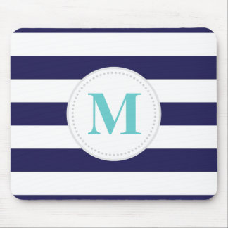 Navy Wide Stripe Mouse Pad