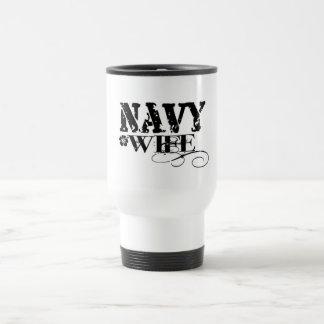 Navy WIFE 15 Oz Stainless Steel Travel Mug